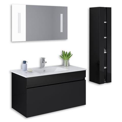 "Black 36"" High Gloss Wall Mount Vanity Set"