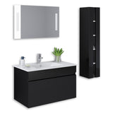 "Black 32"" High Gloss Wall Mount Vanity Set"
