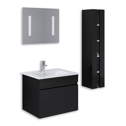 "Black 24"" High Gloss Wall Mount Vanity Set"