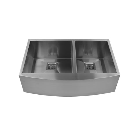 "36"" Double Bowl Round Bottom Farmhouse Sink"