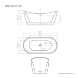 "Bolsena 60"" White Oval Freestanding Bathtub"
