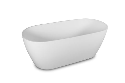 "Lugano 62"" White Stone Oval Freestanding Bathtub"