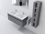 "Grey 48"" High Gloss Wall Mount Vanity Set"