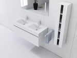 "White 48"" High Gloss Wall Mount Vanity Set"