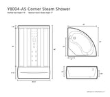 "36"" x 36"" Y8004-AS Corner Steam Shower Room"