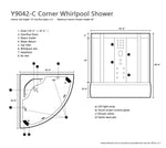 "Y9042-C Corner Steam Shower Enclosure with Whirlpool Tub 58"" x 58"""