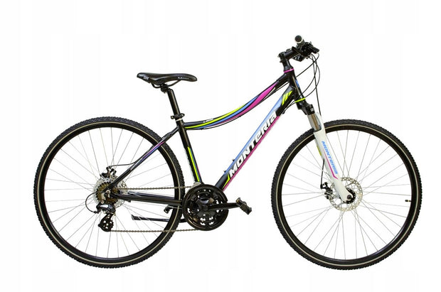 "Monteria Crosser 17"" or 19"" Black Pink Blue Womens Hybrid Bike"
