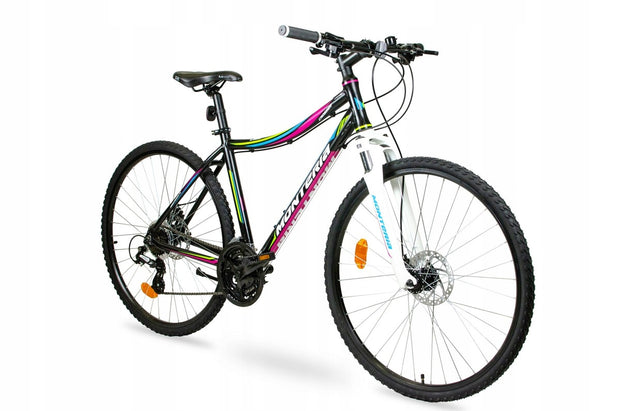 "Monteria Crosser 17"" or 19"" Black Pink Blue Womens Hybrid Bike - lescycles.co.uk"