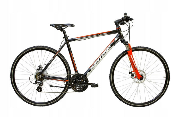 "Monteria Crosser 19"" or 21"" Black Red Hybrid Bike - lescycles.co.uk"
