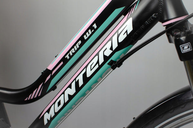 "Monteria Trip 1 17"" or 19"" Black Mint Pink 2020 Womens Hybrid Bike"