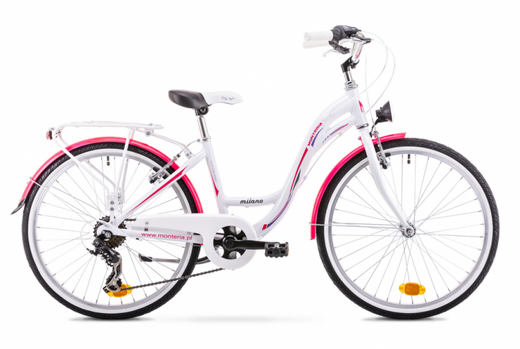 "Monteria Milano Womens Step-Through Hybrid Bike White Pink 15"" 17"" - lescycles.co.uk"
