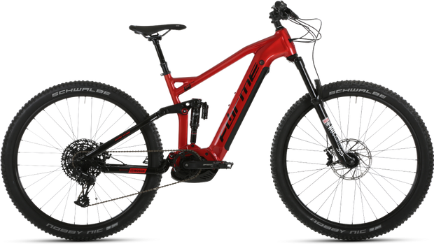 Forme Black Rocks FSE Red 2020 E-Bike Mountain Bike Full Suspension - lescycles.co.uk