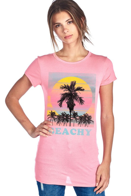 Beachy Graphic Tee (Rose) - Pineapple Lain Boutique
