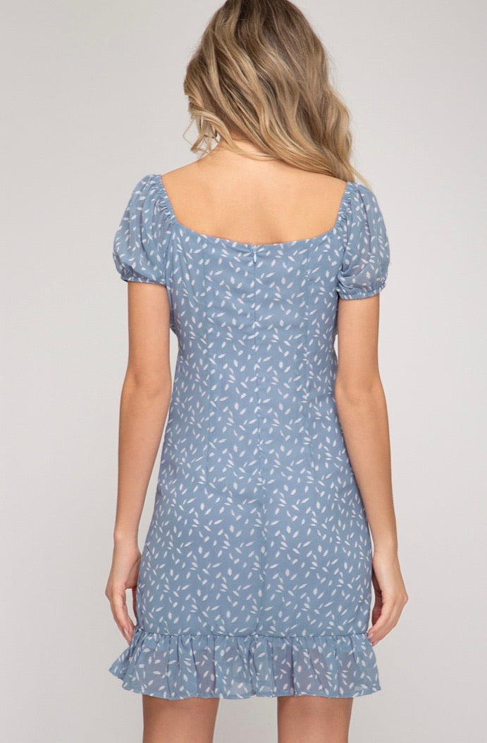 Nothing But Blue Skies My Way Puff Sleeve Dress - Pineapple Lain Boutique