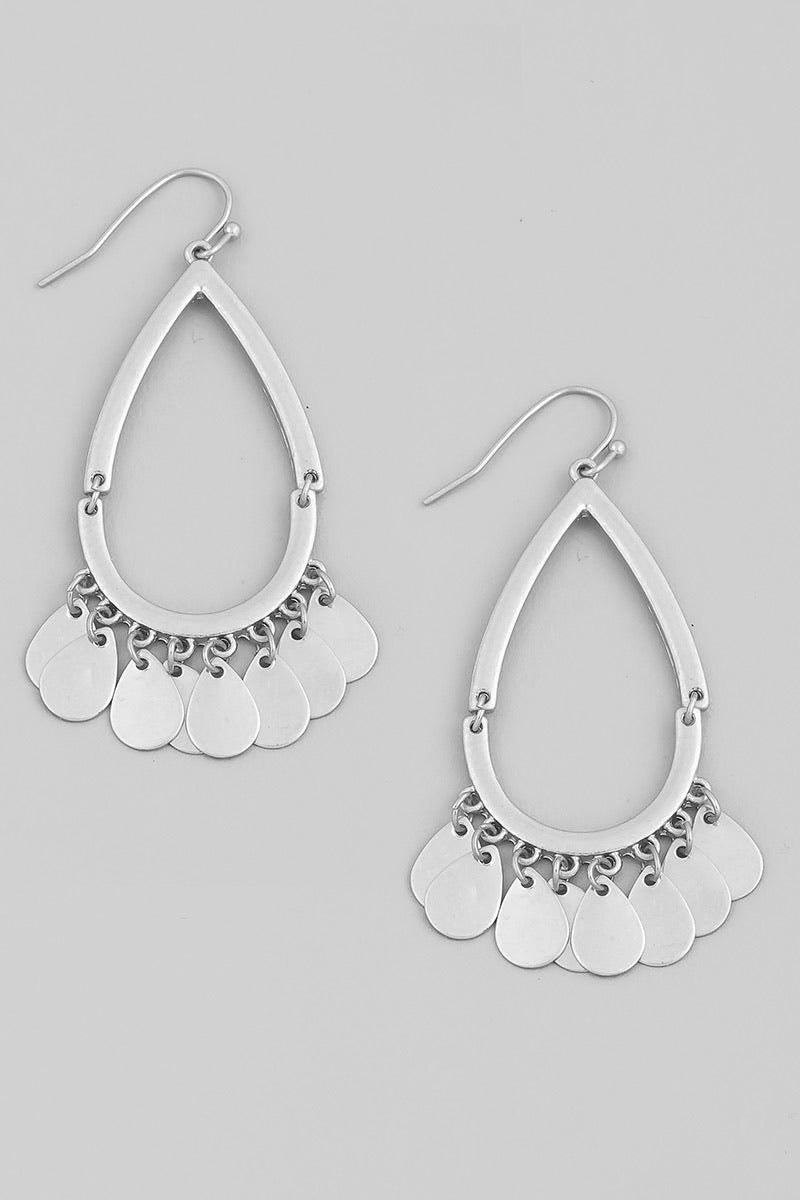 Teardrop Chandelier Dangle Earrings - Silver