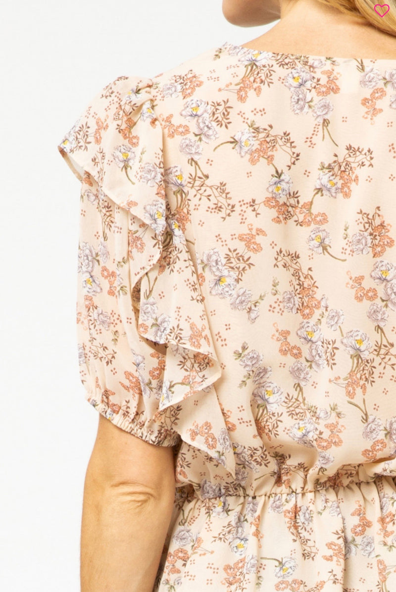 Floral Print V-Neck Ruffle Top - Pineapple Lain Boutique