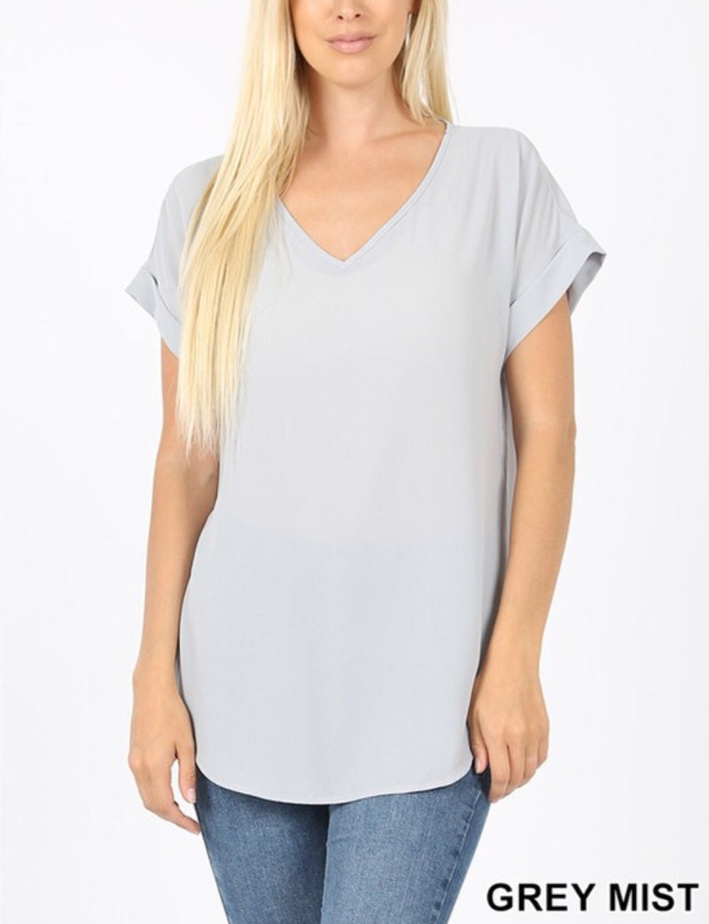 Dobby Short Cuff Sleeve V Neck Top - Pineapple Lain Boutique