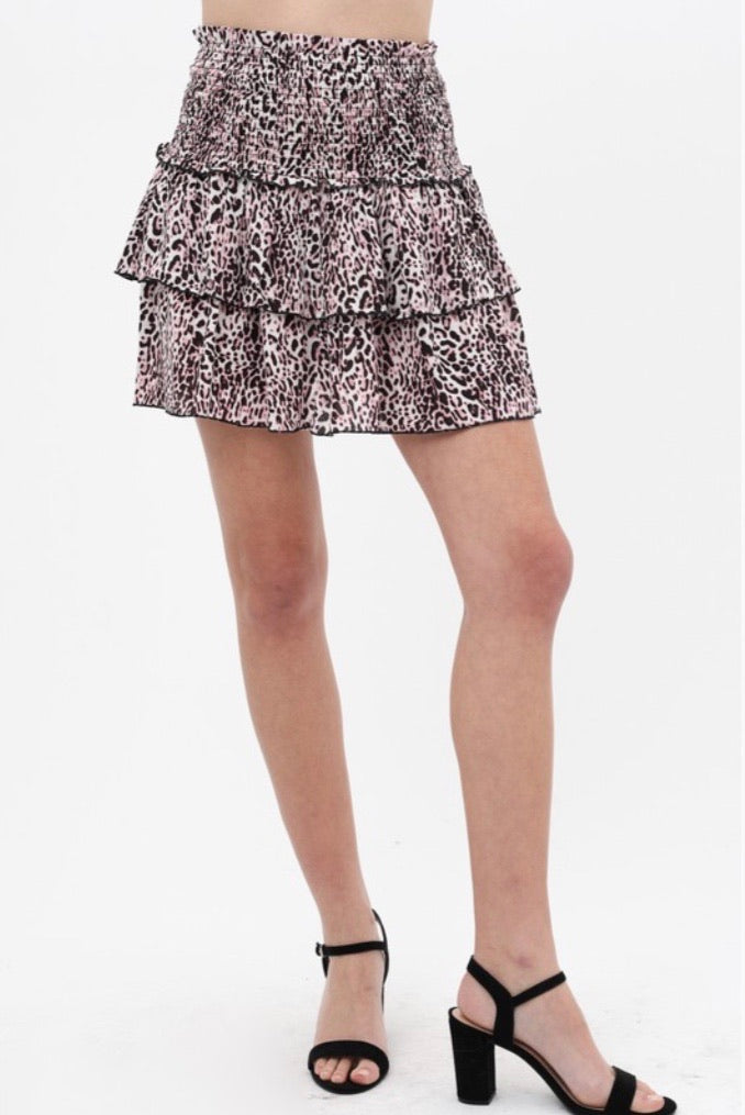 Pink Leopard Tiered Mini Skirt - Pineapple Lain Boutique