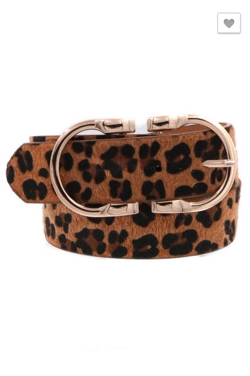Leopard Print Double Metal Ring Belt - Pineapple Lain Boutique