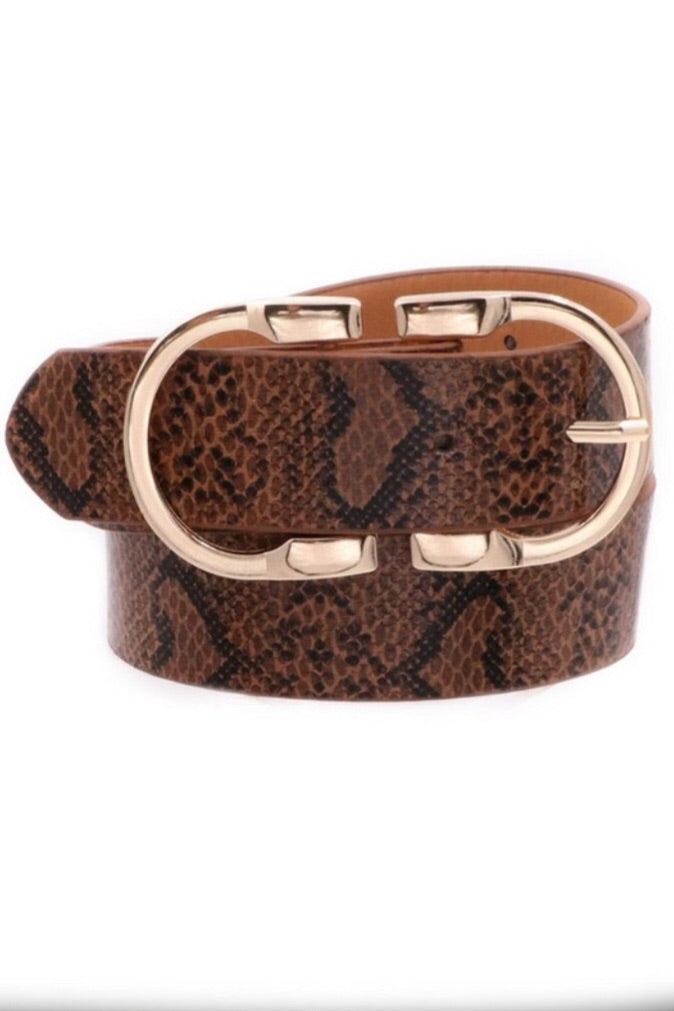 Snake Skin Print Double Metal Ring Belt - Pineapple Lain Boutique