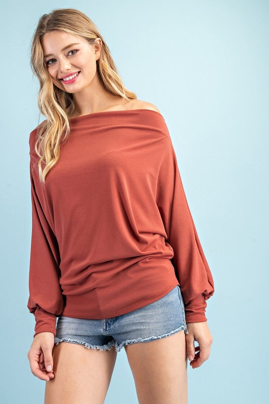 Sign Of The Times Off Shoulder Top - Rust