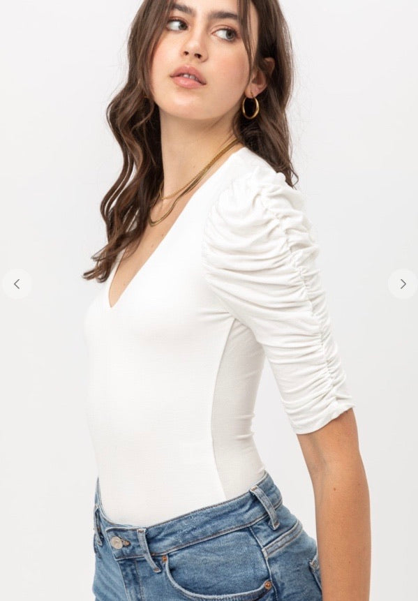 A Sure Thing Ruched Sleeve V-Neck Bodysuit - White