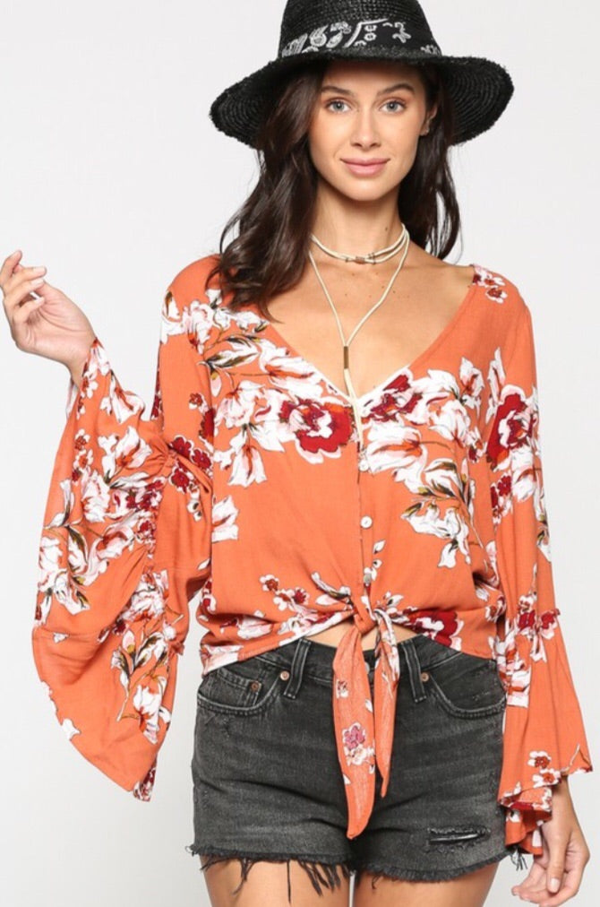 Malibu Sunset Floral Tie Front Top - Pineapple Lain Boutique