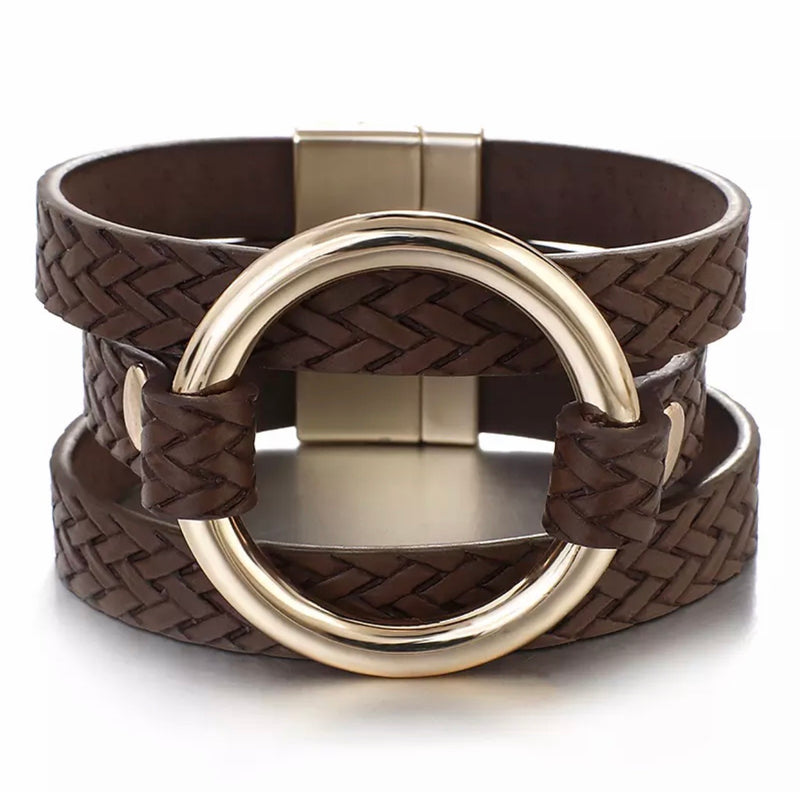 Braided Leather Gold O-ring Cuff Bracelet - Chocolate
