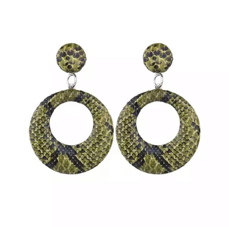 Snake Skin Print Circle Drop Earrings - Pineapple Lain Boutique