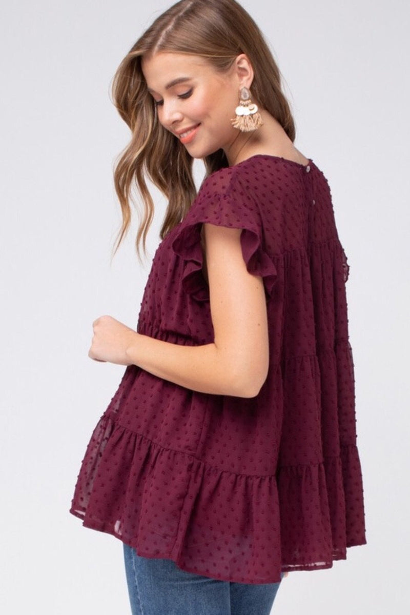 Dotted Swiss Tiered Smock Top - Burgundy