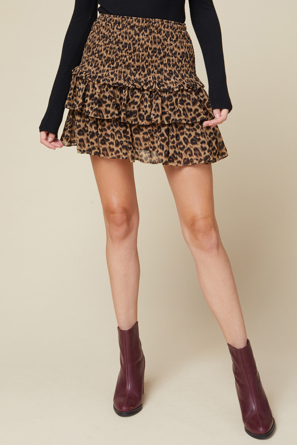Brown Leopard Tiered Ruffle Skirt