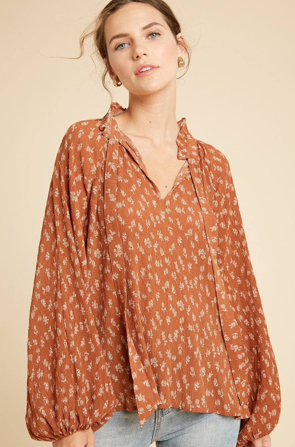 Forever Bohemian Floral Print Top - Rust