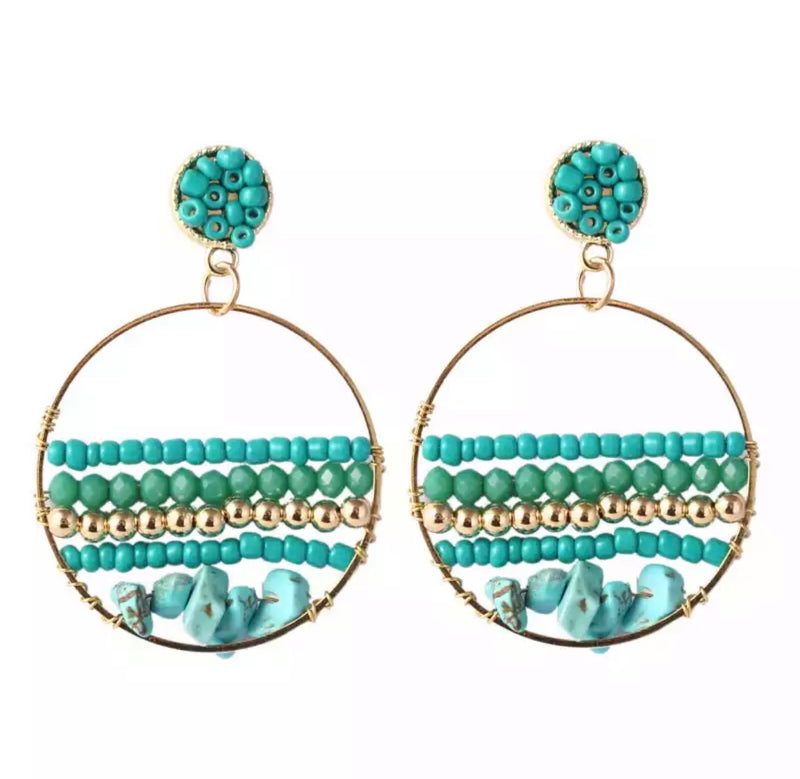 Boho Beaded Circle Drop Earring - Teal Green