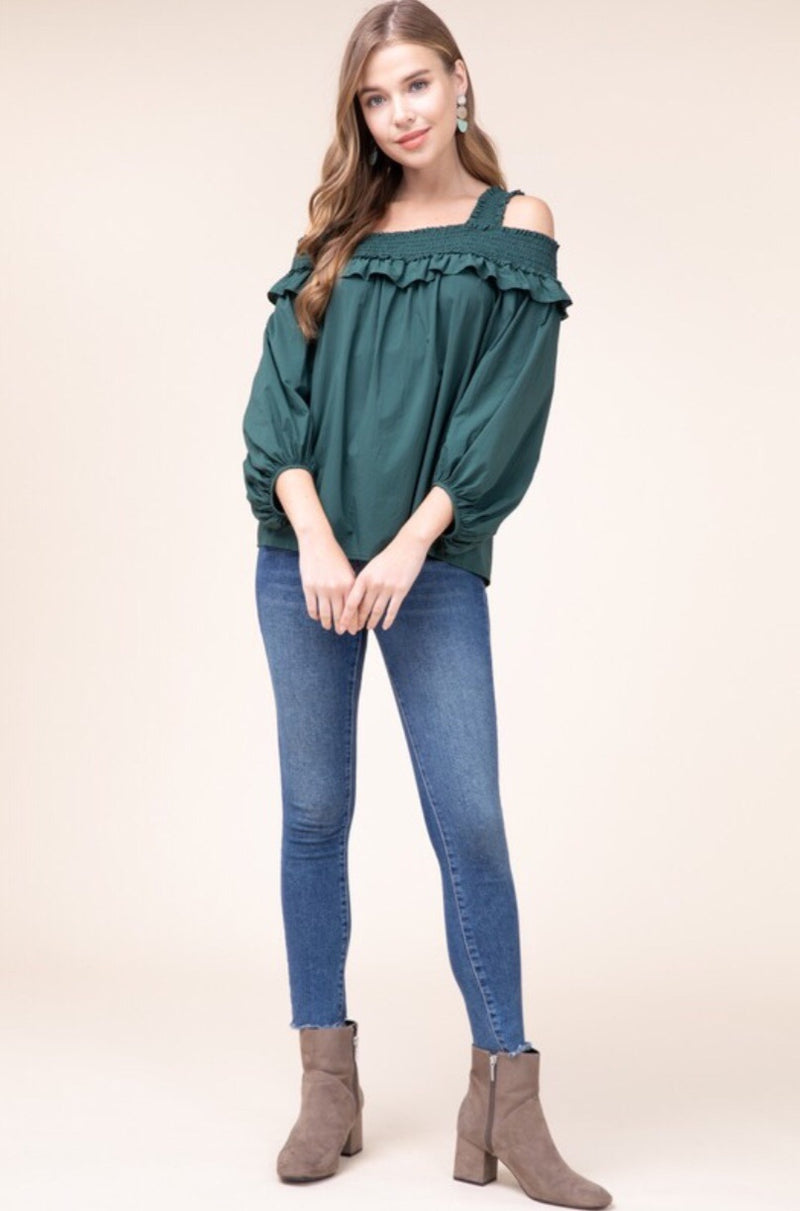 All In A Day's Work Hunter Green Cold Shoulder Top - Pineapple Lain Boutique