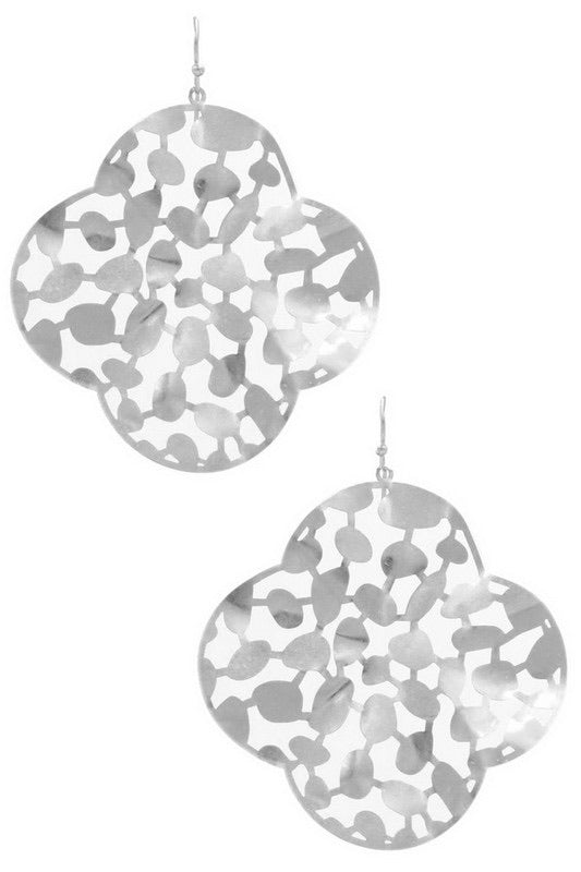 Quatrefoil Cut Out Drop Earring - Silver