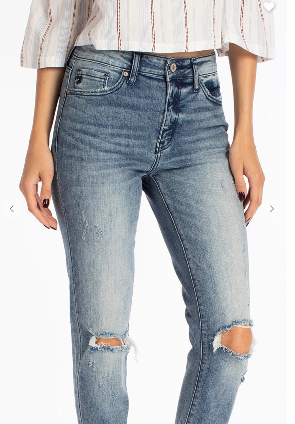 KanCan8356M High Rise Hem Detail Mom Jeans