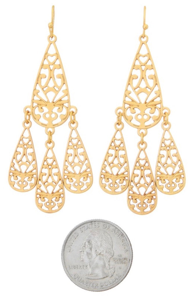 Filigree Tear Drop Dangle Earrings - Silver - Pineapple Lain Boutique