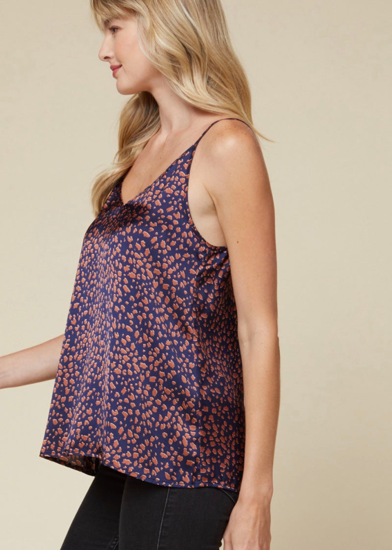 Thrill Of The Chase Satin Leopard Print Camisole - Navy