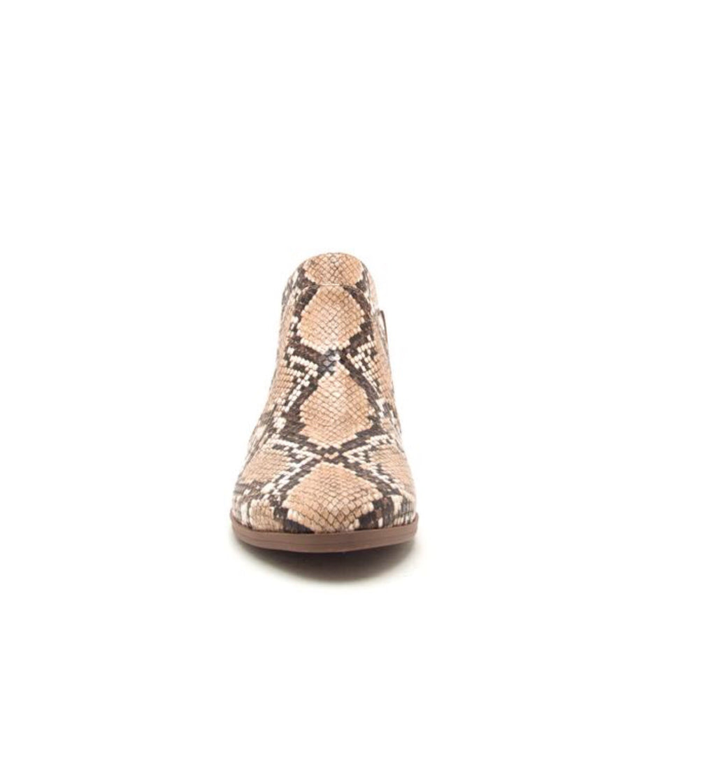 Salena Snakeskin Bootie - Brown - Pineapple Lain Boutique
