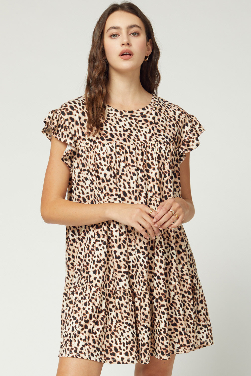 Ready Set Pounce Tiered Leopard Print Dress