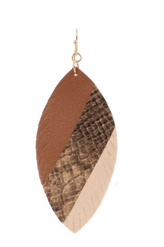 Beige Faux Leather Leaf Drop Earring