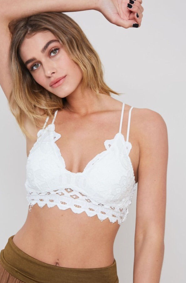Floral Lace Bralette - Ivory - Pineapple Lain Boutique