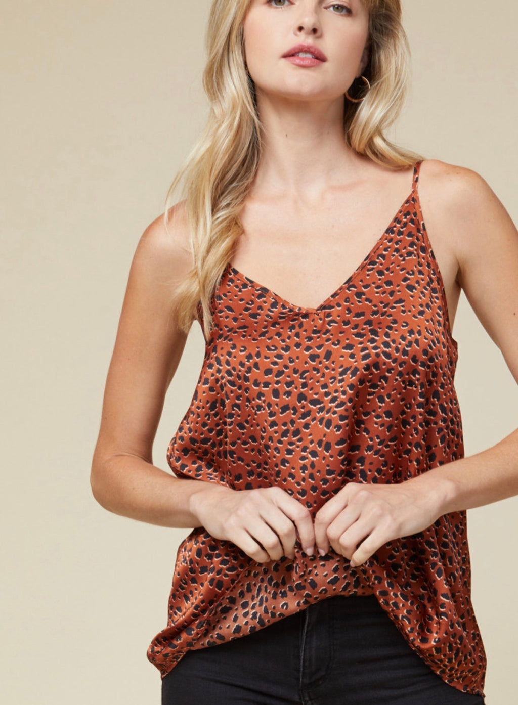 Thrill Of The Chase Satin Leopard Print Camisole - Copper