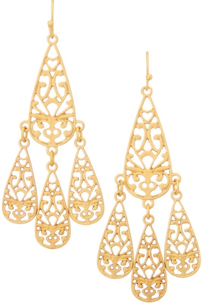 Filigree Tear Drop Dangle Earrings - Gold - Pineapple Lain Boutique