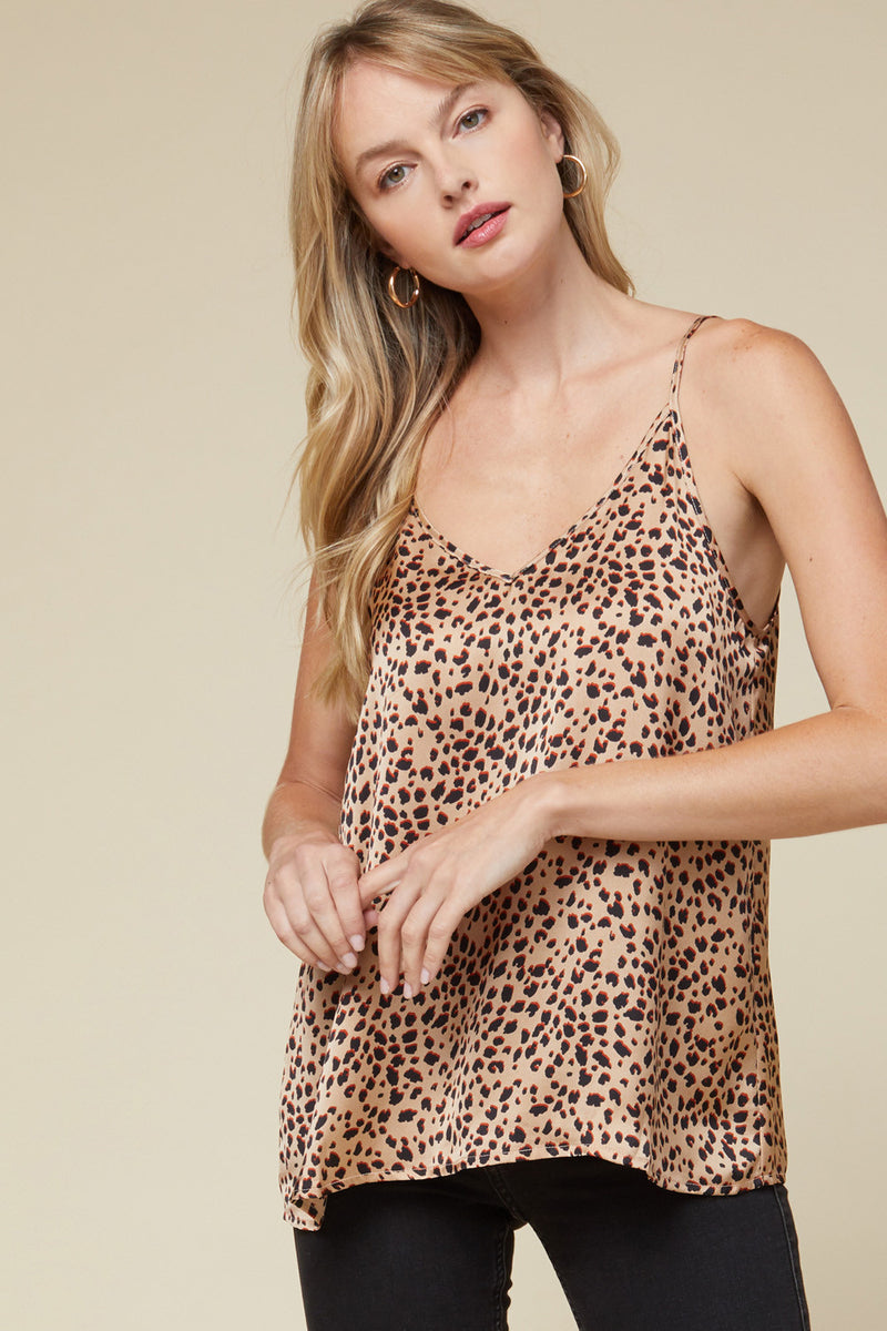 Thrill Of The Chase Satin Leopard Print Camisole - Camel