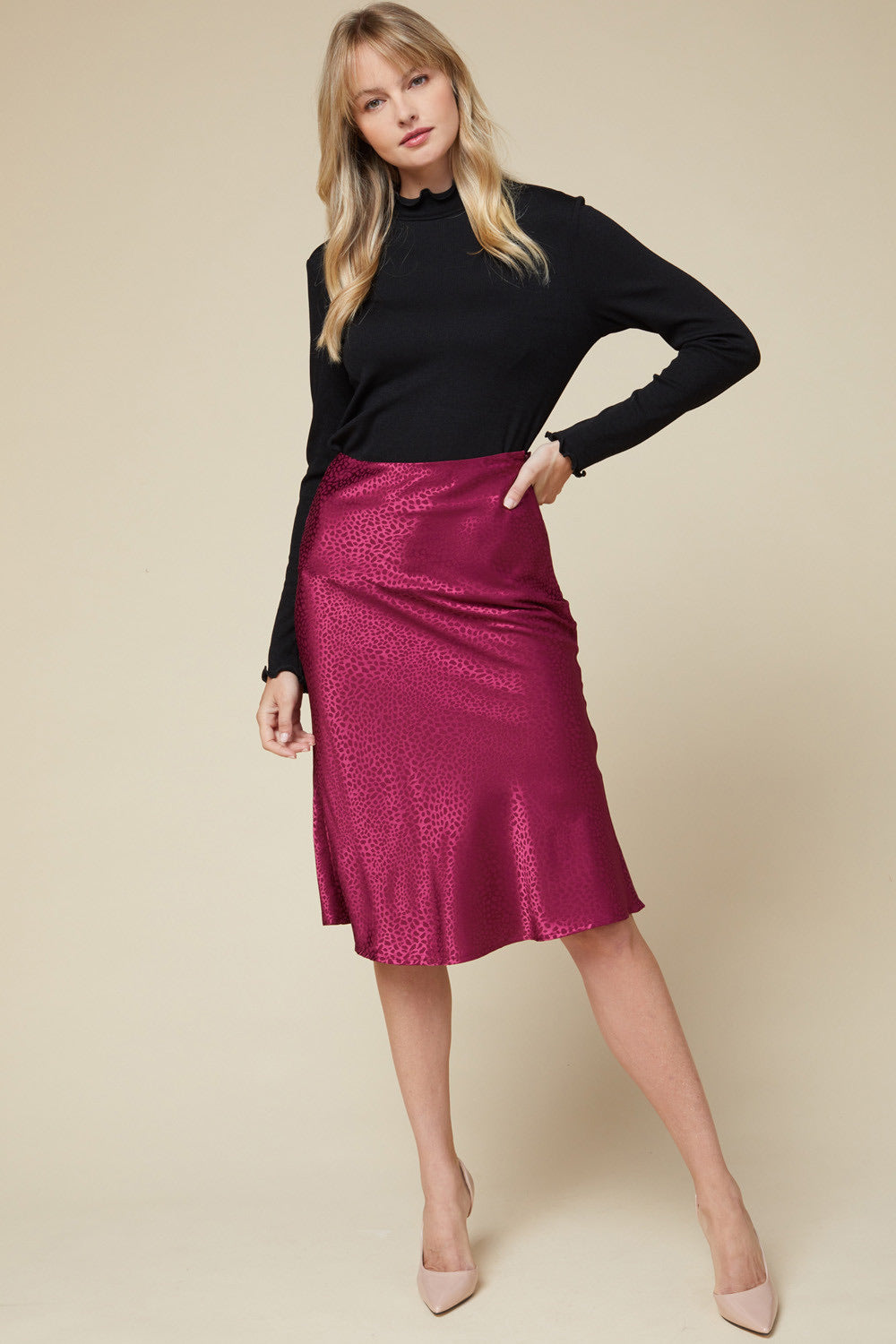 Strut Your Stuff Satin Midi Skirt - Wine