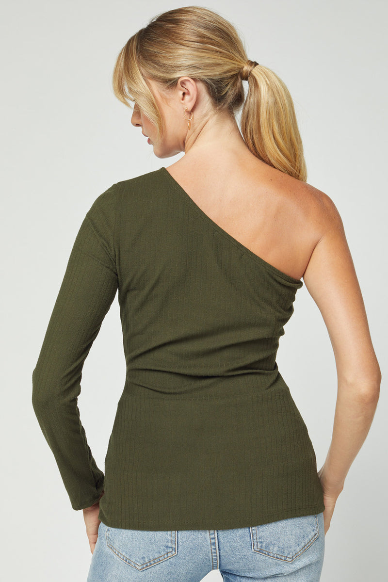 Day To Night One Shoulder Top - Olive