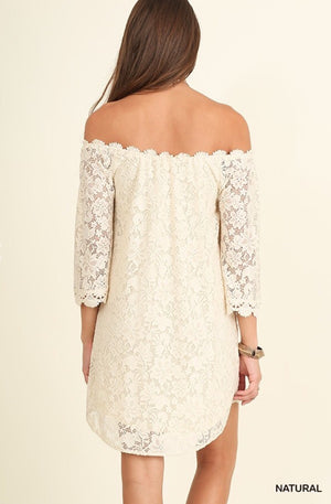 Antique White Off The Shoulder Lace Dress - Pineapple Lain Boutique
