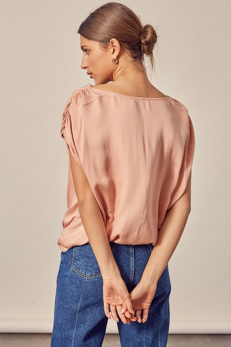 Daydreams Shirred Sleeve Top - Blush