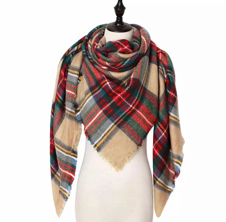 Multicolored Plaid Triangle Scarf - Pineapple Lain Boutique
